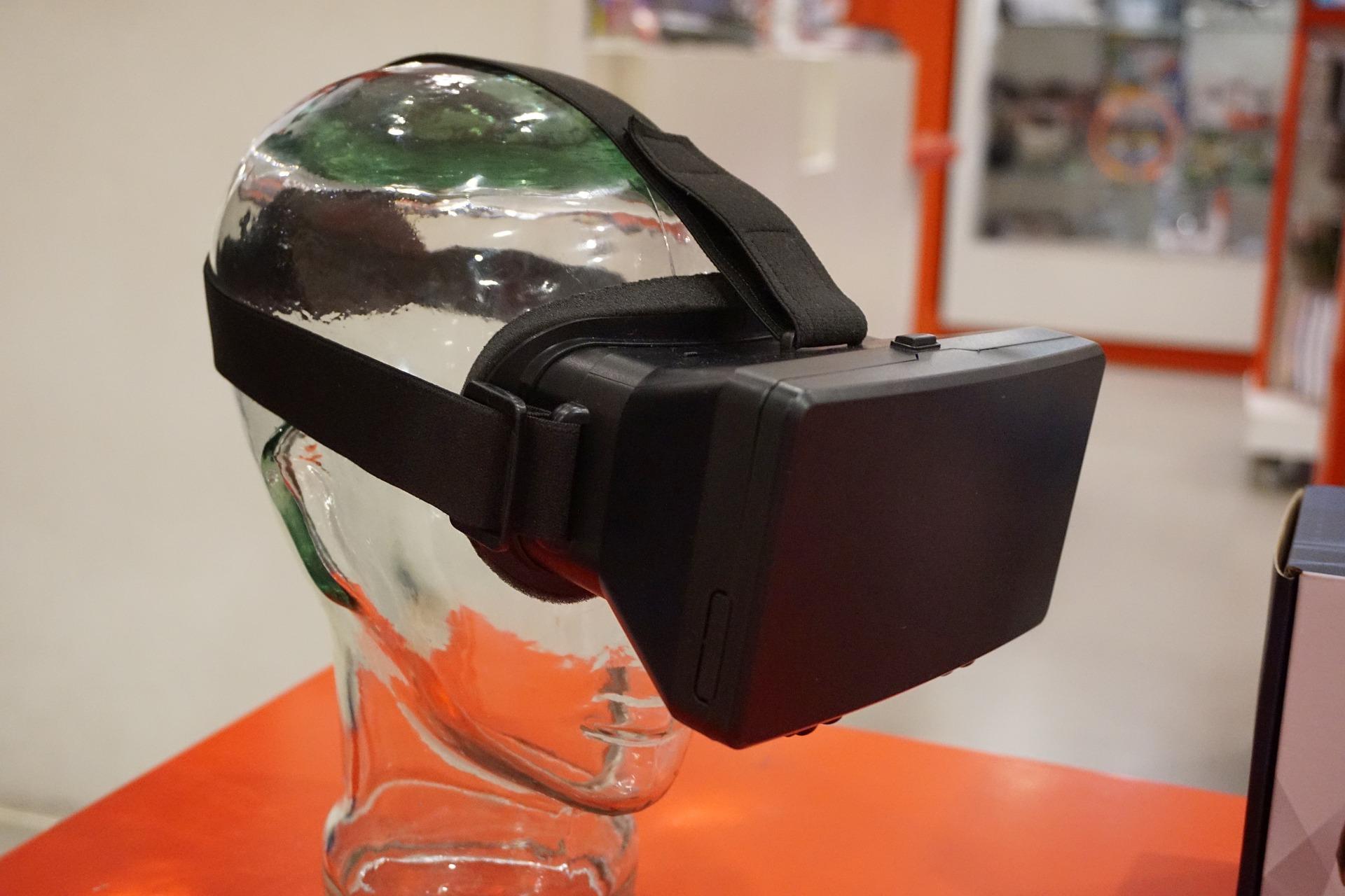 a model wears a VR headset